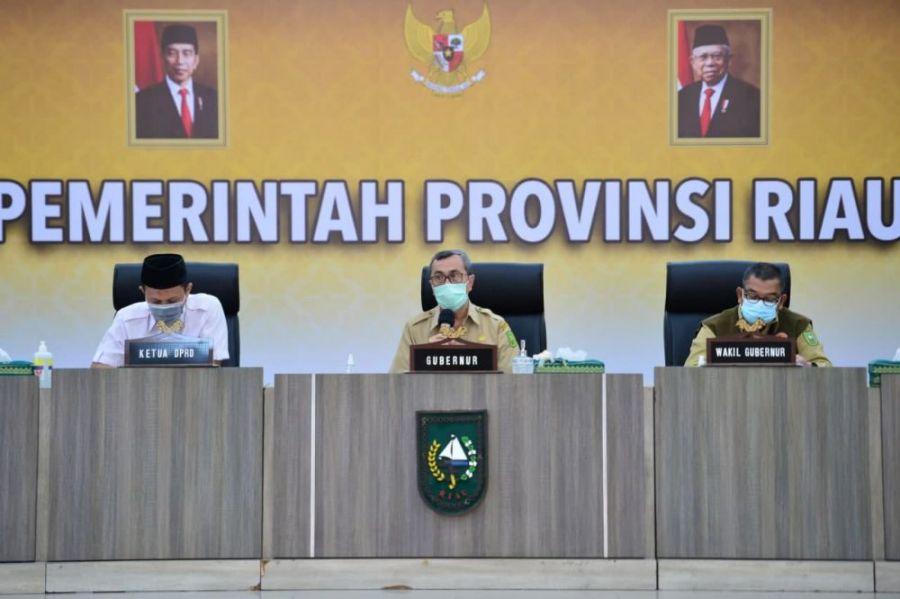 Gubri Pimpin Rakor Pelaksanaan Hari Raya Idul Fitri 1442 H dan Halal Bihalal di Riau